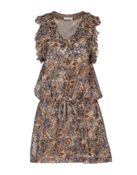 E Go' Sonia De Nisco Short Dresses Brown
