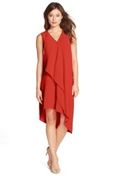 Adrianna Papell Women's Ruffle Front Crepe High Low Dress Fire Orange