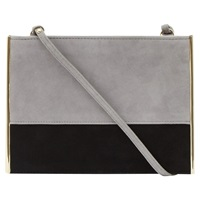 Reiss Suede Metal Small Shoulder Bag Black Lilac Ash