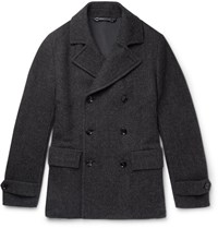 Ermenegildo Zegna Herringbone Wool Silk And Cashmere Blend Peacoat Gray