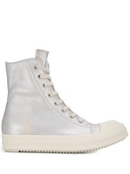 Rick Owens Drkshdw Metallic High Top Trainers Silver