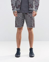 Asos Knitted Shorts With Aztec Design Grey
