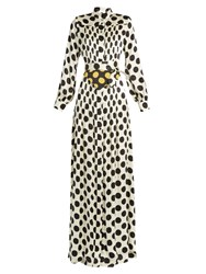 Duro Olowu Large Polka Dot Print Silk Satin Gown White Black