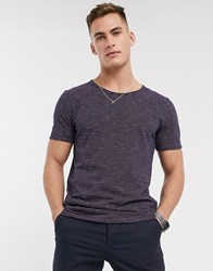Selected Homme T Shirt With Scoop Neck In Marl Stripe Pink Multi