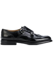 Church's Perforated Decoration Monk Shoes Women Leather 39 Black