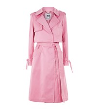 Milly Duchesse Satin Trench Coat Pink