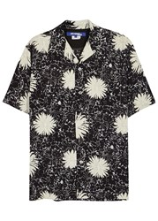 Junya Watanabe Floral Print Cupro Blend Shirt Black And White