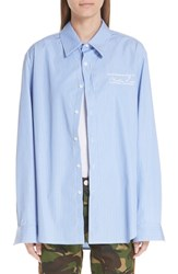 Martine Rose Classic Stripe Shirt White Blue Stripe