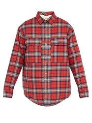 Fear Of God Checked Cotton Flannel Shirt Jacket Red Multi