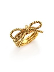 Marc Jacobs Rope Bow Ring Goldtone Antique Gold
