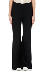 Stella Mccartney Women's Wool Pleated Bell Bottom Trousers Black