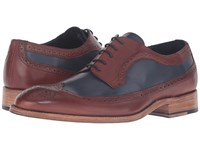 Messico Doroteo Welt Cognac Navy Leather Men's Shoes Brown