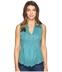 Lucky Brand Washed Woven Mix Tank Top Everglade Women's Clothing Green