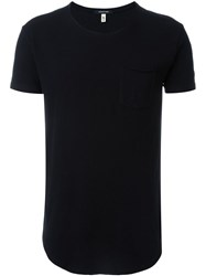 R 13 R13 Curved Hem T Shirt Black
