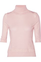 Nina Ricci Corded Lace Paneled Wool Turtleneck Sweater Pink