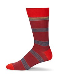 Saks Fifth Avenue Cotton Blend Striped Socks Red