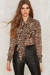 Nasty Gal Don't Ask Tie Pussy Bow Blouse Leopard Animal