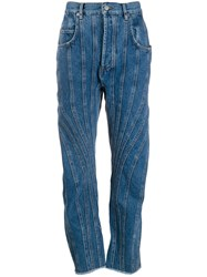 Thierry Mugler Panelled Stripe Jeans Blue