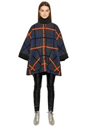 M Missoni Check Wool Knit Cape Coat