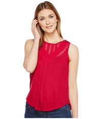 Lucky Brand Mixed Lace Yoke Tank Top Cerise Women's Sleeveless Red
