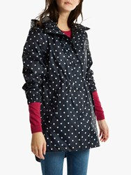 Joules Golightly Pack Away Waterproof Spot Print Parka Coat Navy