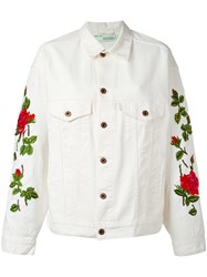 Off White Rose Embroidered Jacket Nude Neutrals