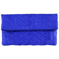 Vasilisa Quilted Snakeskin Clutch Royal Blue