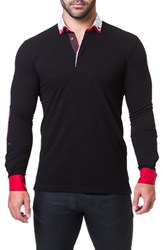 Maceoo Newton Trim Fit Long Sleeve Polo Black