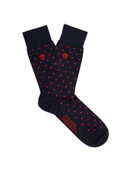 Alexander Mcqueen Polka Dot Jacquard Cotton Blend Socks Navy Multi