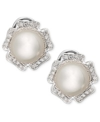 Macy's 14K White Gold Earrings Diamond 1 3 Ct. T.W. And Cultured South Sea Pearl 9Mm Flower Stud Earrings Black