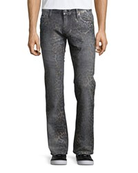Robin's Jean Faded Animal Print Denim Jeans Dark Gray