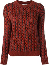 Moschino Trompe L'ail Cable Knit Jumper Red