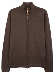 Oscar Jacobson Ariel Brown Fine Knit Wool Cardigan
