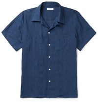 Richard James Camp Collar Linen Shirt Blue