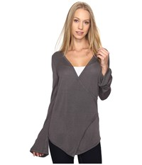 B Collection By Bobeau Pullover Sweater W Flare Sleeve Charcoal Grey Women's Sweater Gray