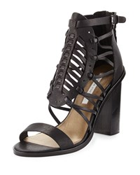 Cynthia Vincent Flora Caged Leather Sandal Black