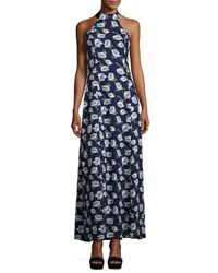 Lucca Couture Adalyn Floral Print Maxi Dress Blue Pattern