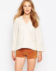 Influence Inlfuence Long Sleeve Wrap Front Top Cream