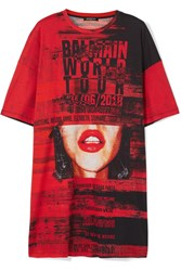 Balmain Oversized Printed Cotton Jersey T Shirt Red