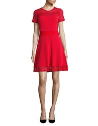Michael Michael Kors Mesh Accented Roundneck Dress Red