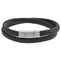 Emporio Armani 'S Double Braided Leather Bracelet Black Silver