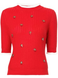 Muveil Cherry Charmed Sweater Red