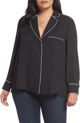 Everleigh Plus Size Piping Detail Pajama Style Top Black W Ivory Piping