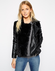 Brave Soul Biker Jacket With Faux Fur Black
