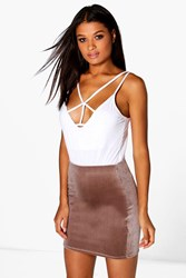 Boohoo Velvet Mini Skirt Taupe