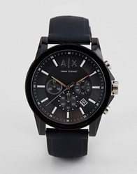 Armani Exchange Ax1326 Outerbanks Leather Watch Black