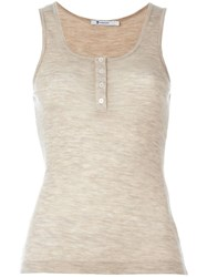 T By Alexander Wang Ribbed Tank Top Nude And Neutrals