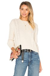 Autumn Cashmere Boxy Cable Crew Neck Sweater Neutral