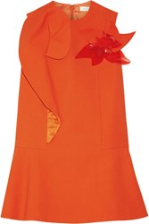 Delpozo Appliqued Ruffled Stretch Cotton Blend Crepe Mini Dress Bright Orange