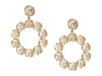 Tory Burch Stone Wreath Drop Earrings Pink Blossom Vintage Gold
